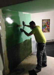 pose etancheite murs - terrarium iguane