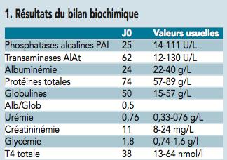 tableau bilan biochimique - anemie